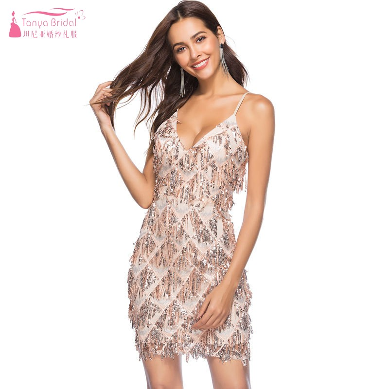 Sequined Sling Deep V-neck Sexy Nightclub Halter Women's Dress Cocktail Dresses 2018 Evening Party DQG719
