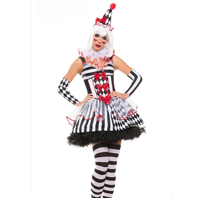 girls harley quinn costumes womens harlequin fancy dress clown tutu circus party gown cosplay joker clothing - Halloween Costumes Harlequin