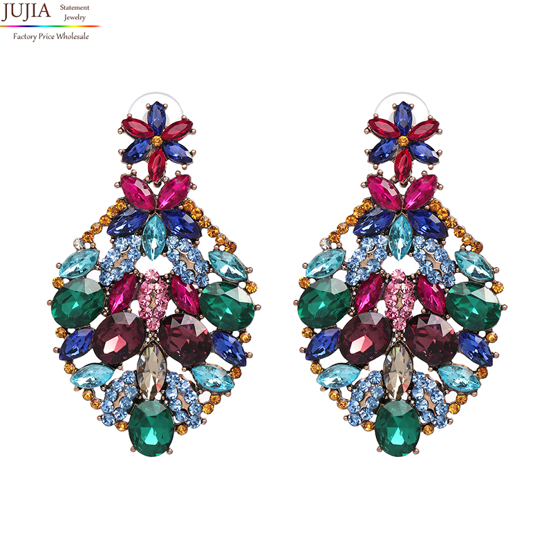JUJIA Hot Sale New Fashion Women Statement Crystal Big Stud Earrings For Women Fashion Earring