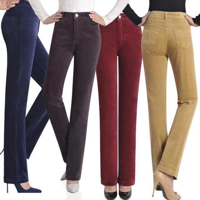 417242f0b0 Venta caliente Otoño e Invierno recto jwomen pantalones de terciopelo más  tamaño 7xl PANA cintura elástica