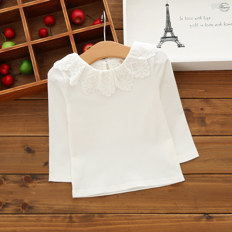 Baby Girl Shirt Brand Cotton Children Clothing High Quality White School Girls Blouses Kids Clothes For Girls Baby Clothes A2919