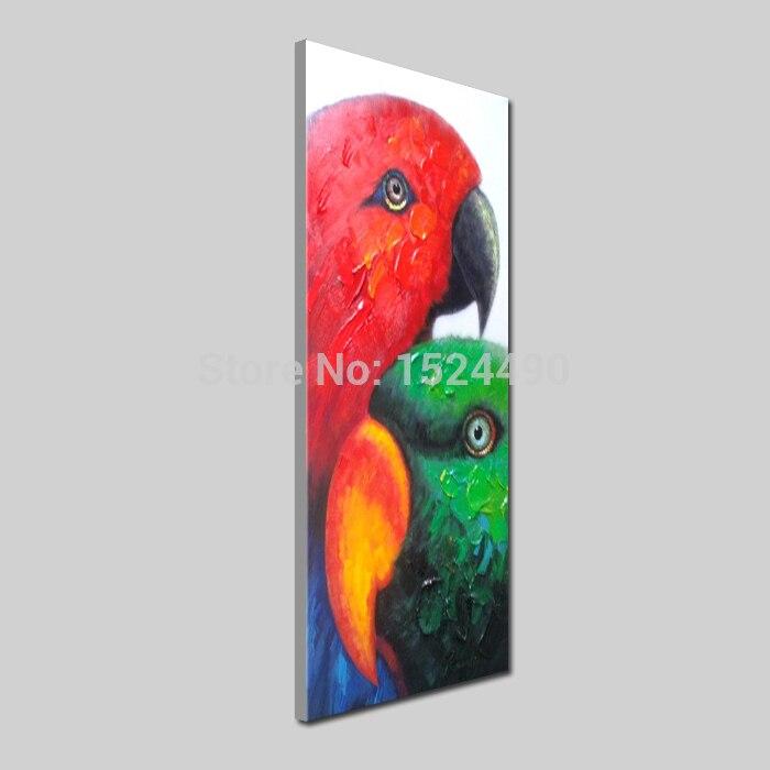 Livraison gratuite peint à la main animaux modernes coloré africain Lovebird peinture à l'huile sur toile Art mural peinture salon décor - 3