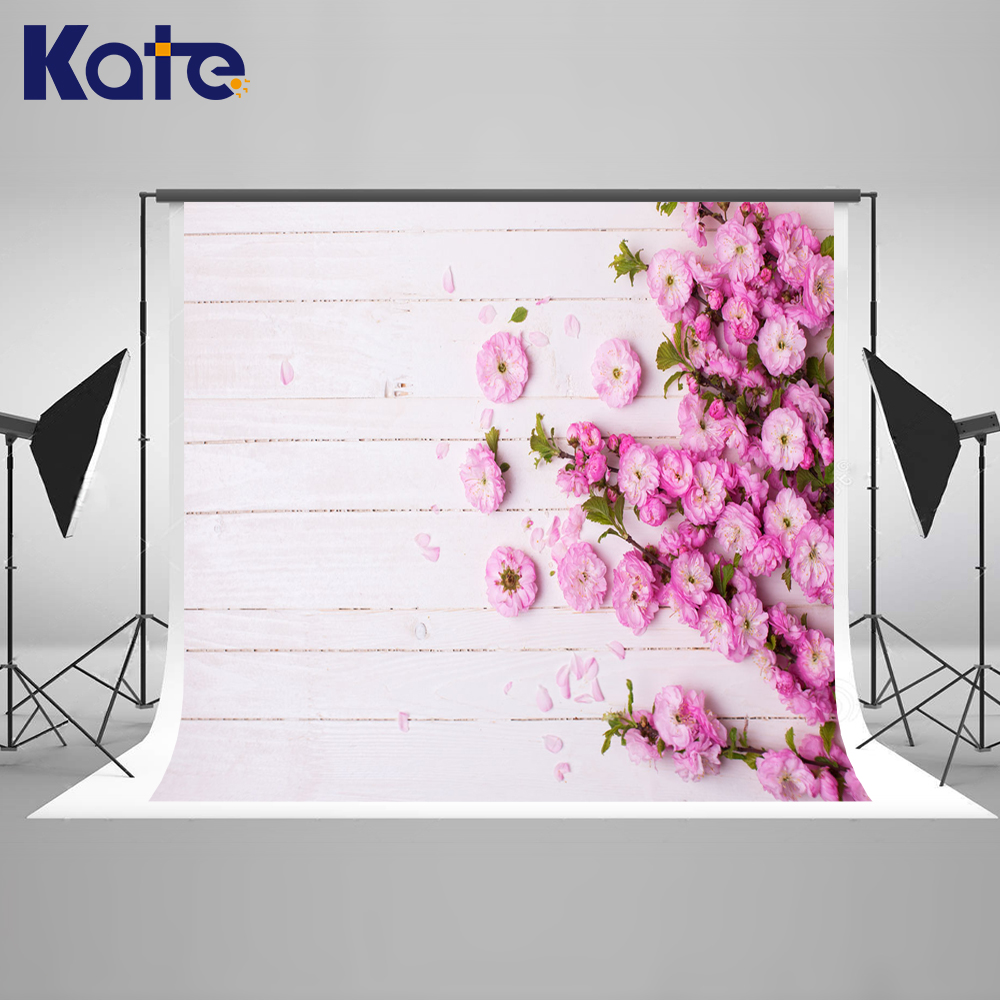 Kate Write Old Wood Photography Backdrop Purple Fowers Photography Props Kids Romantic Wedding Photo Background Floor Wooden