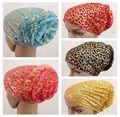 Gold  muslim hat hijab islamic turban gauze small disk flowers all-inclusive hair hat muslim hijab