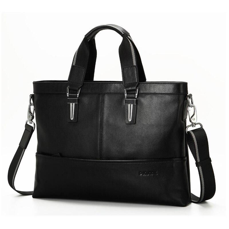 Подробнее о Business Men Genuine Leather Briefcase Luxury Brand Handbags Men Shoulder Messenger Bag Cowhide Leather Men Bag 15.7