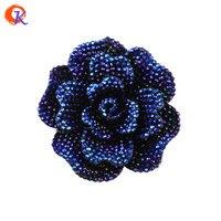C ordialออกแบบ50ชิ้น/ล็อต44มิลลิเมตรAB Rolayสีฟ้าเรซิ่นR Hinestoneดอกไม้ก้อน