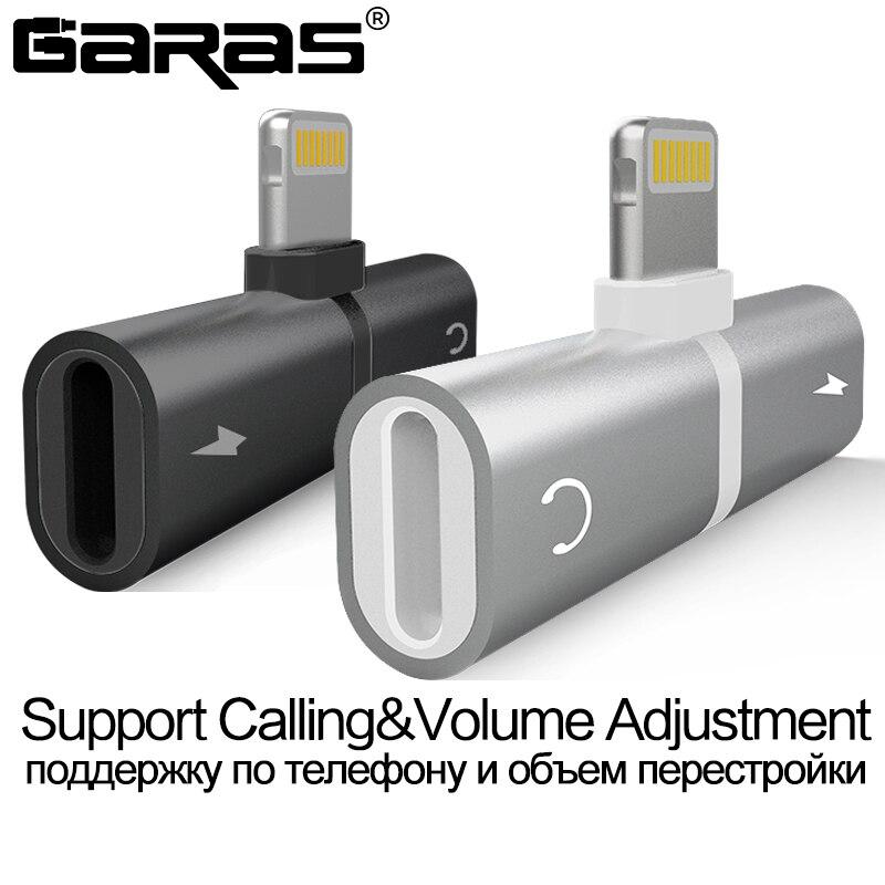 Adaptador de Áudio Para o iphone 7 GARAS 8 Plus X Carregamento/Áudio 2 em 1 Carregador Adaptador de Cabo Para Relâmpago jack para Fone de Ouvido Cabo AUX