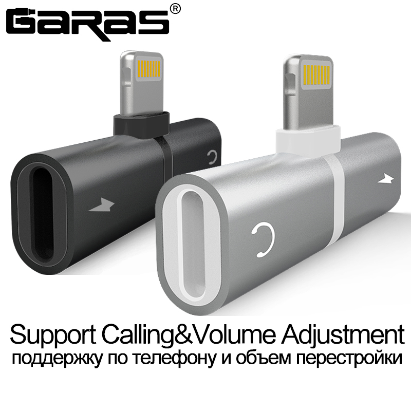 GARAS adaptador Audio para el iPhone 7 8 más X carga/Audio 2 en 1 Cable cargador adaptador para relámpago jack para auriculares AUX Cable