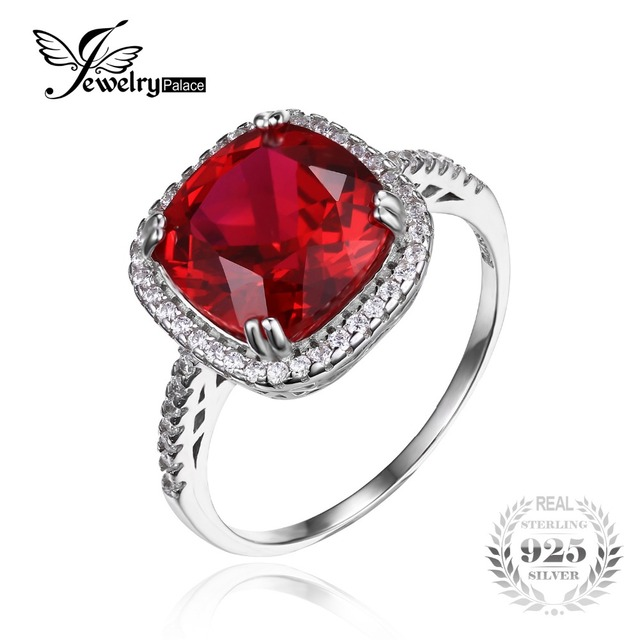 JewelryPalace Cushion 6.5ct Red Created Rubies Halo Engagement Ring 925 Sterling Silver Wedding Jewelry For Women Vintage Charm