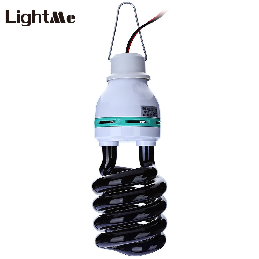 dc12v 20 36 40w e27 uv charger lead spiral energy saving black light lamp 1 5m with traps insect. Black Bedroom Furniture Sets. Home Design Ideas