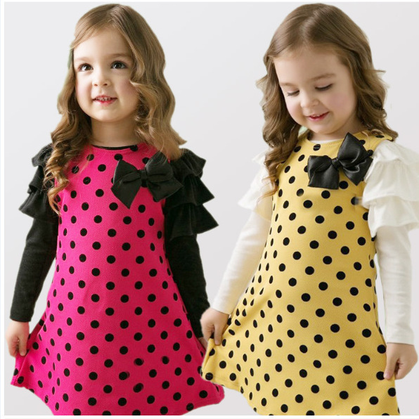 Autumn Baby Girls Dresses Kids Clothes Long sleeve Dress Yellow Rose Bowknot Children Clothing Girl Party Dress Vestidos Costume 2016 new girls clothes brand baby costume cotton kids dresses for girls striped girl clothing 2 10 year children dress vestidos