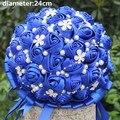 Royal Blue Diamond Свадебные Новый Невесты Свадебные Букеты Искусственные Цветы Атласная Свадебный Букет Красивая Стежка Букет W224A