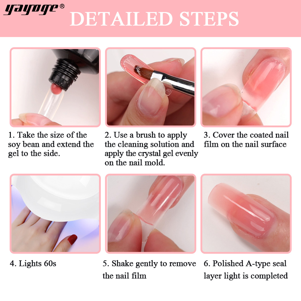 Image 5 - Yayoge Poly Gel Nail Kit With Lamp Acrylic Builder Gel Nail Art French For Nails Extension Gel Polish Fast shipping From Russia-in Nail Gel from Beauty & Health