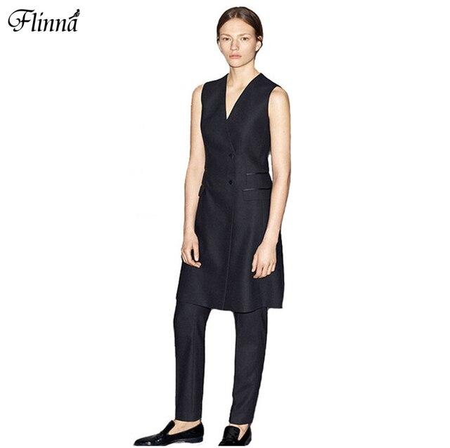 High Quality 2016 Summer Autumn Women's Vest Black OL Elagant V Neck Slim Waist Blazers  Ankle Length Pants Suits Sets