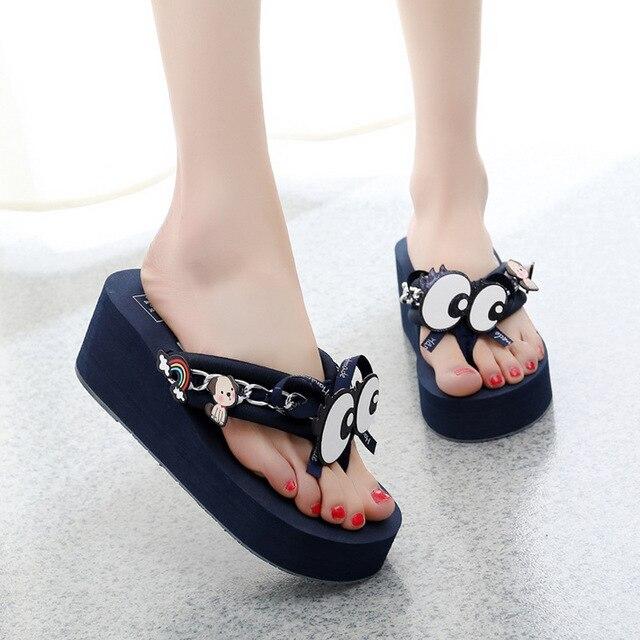 e9e30a465 eye decorate flip flops women comfort cute fashion slippers 2019 new  platform shoes female beach slides bow wedges shoes woman
