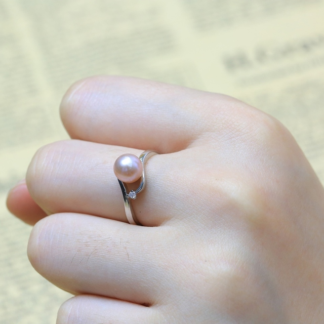 Bamboo Joint Ring Support White Color Freshwater Pearl Ring,Jewelry Making Ring Base. S925 Silver Ring Accessory Ring Holder