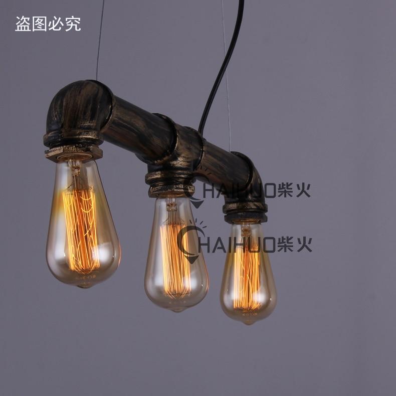 ФОТО RH LOFT Industrial Vintage 3-light Metal Black/Rusty Water-Pipe Pendent Lamp Ceiling Light Cafe Bar Hall Club Store Restaurant