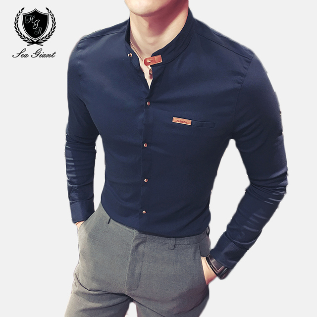 c004ca0bb 2019 Venta caliente Nuevo Hombre Camisas manga larga sólido Casual Slim Fit  importados Hombre Ropa tendencia
