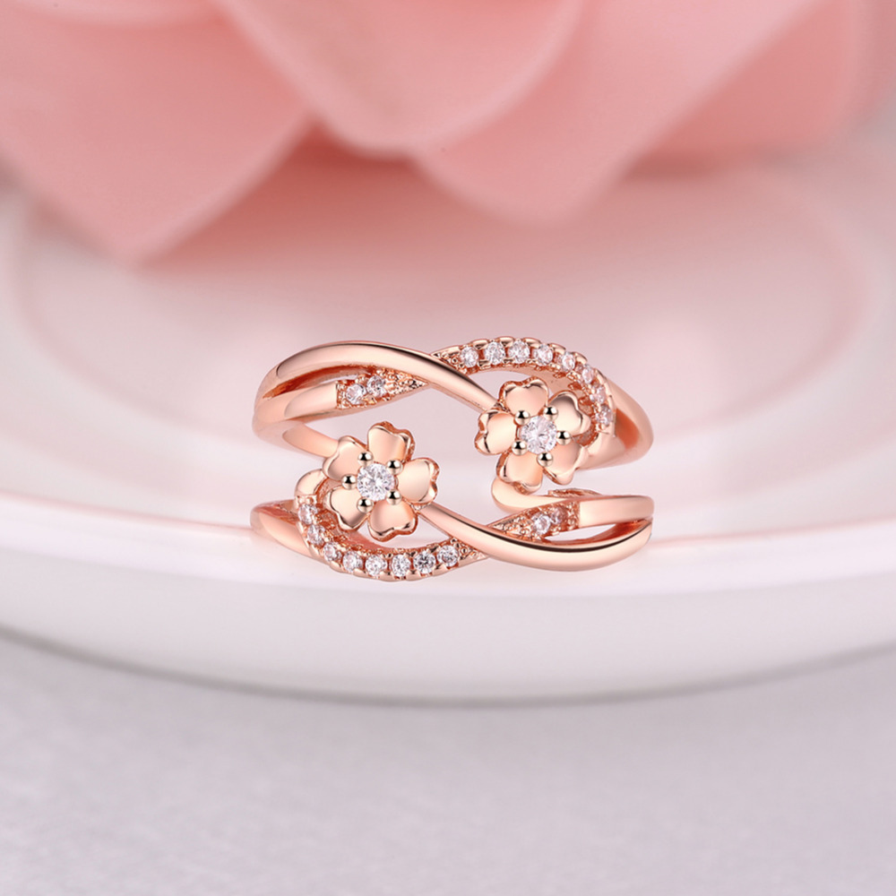 ARUEL Elegant Flower Shape Infinity Rose Gold/White Gold Color Open ...