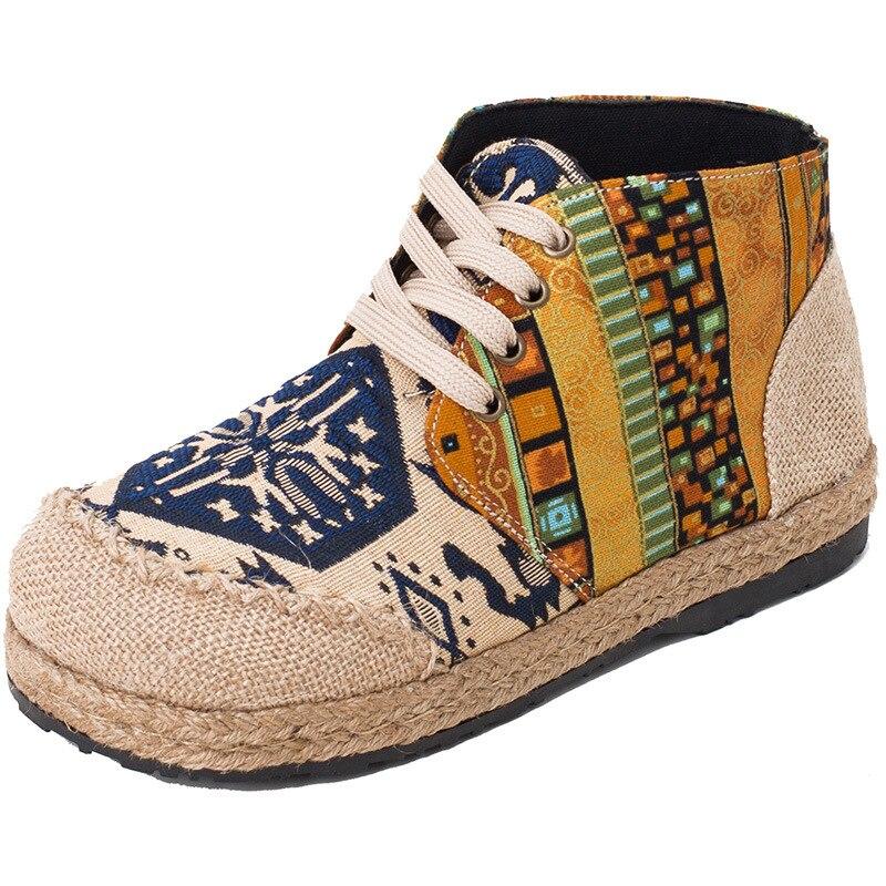 Women's Vulcanize Shoes PU Print Shoes Rubber Women Casual Shoes Women Sneakers Trend Hemp Youth Canvas Lace Up Old Fashion Hot
