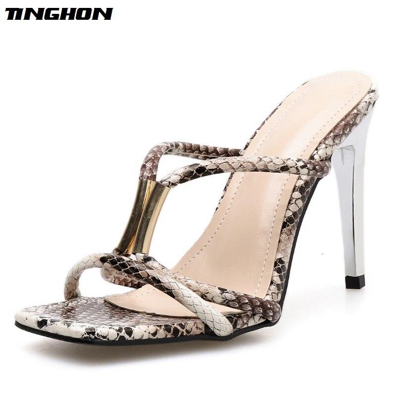 TINGHON Fashion Classic PU Ladies Slipper Women Clear Leopard Transparent Thin Glass Heel Open Toe Party Dance shoes 35-40