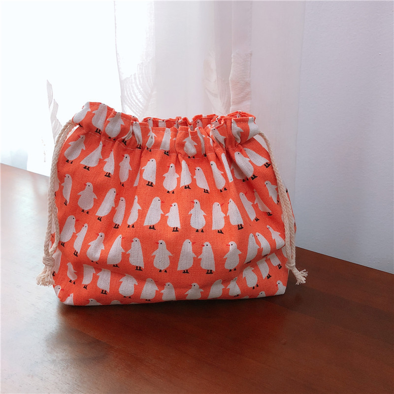 YILE Cotton Linen Lining Drawstring Handbag Lunch Pouch Multi Pattern Fish Whale Penguin