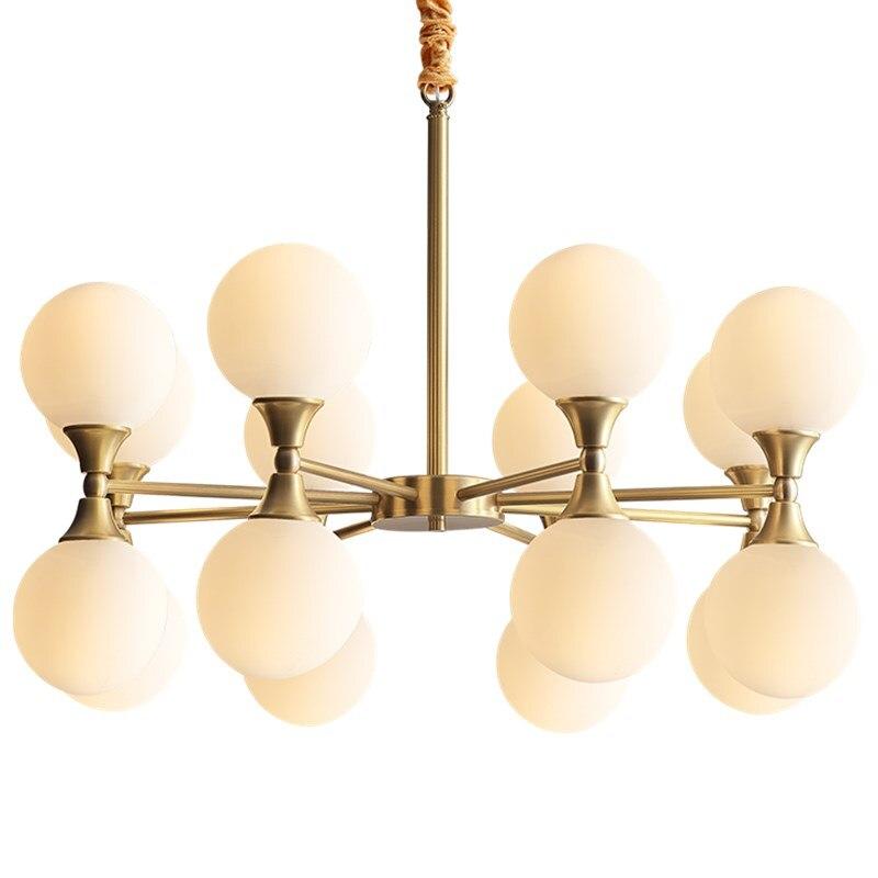 Suspension en cuivre Europea abat-jour en verre blanc lait E14 led ampoule Kung salon salle à manger décoration de la maison travail manuel soudure