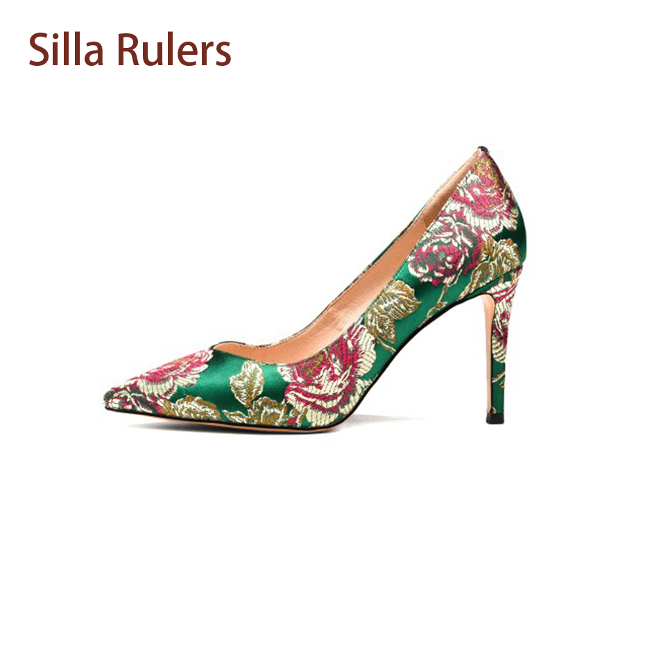 Silla Rulers 2018 New Silk Embroider Women Pumps Elegant Lady Pointed Toe Thin High Heel Shoes Fashion Women Party Wedding Shoes craylorvans top quality 8 10 12cm women pumps new fashion leopard color pointed toe high heel wedding shoes ultra thin high heel