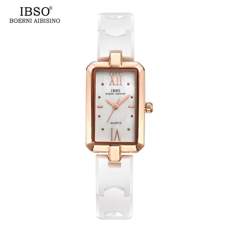IBSO Rectangle Watch Women  Ceramics Brand Luxury 2017 Quartz Gold Ladies Watches Band Diamond Fashion Montre Femme ibso top brand women watches 2017 shell dial genuine leather band watch women casual fashion quartz wristwatches montre femme