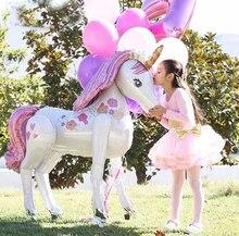 Globos de unicornio 3D de gran tamaño para fiesta de boda, globos decorativos con diseño para Baby Shower, decoraciones de juguete para fiesta de cumpleaños