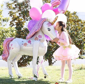Image 1 - Large Size 3D Unicorn Balloons Wedding party layout decorative balloons Baby Shower Girl Birthday Party toy Decorations