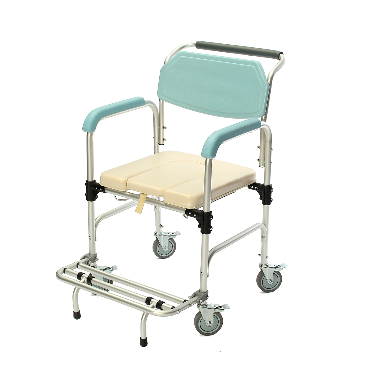 Bedside Commode Chair Us 298 09 3 In 1 Commode Wheelchair Elder Folding Chair Bedside Toilet Shower Seat Bathroom Rolling Chair Aluminum Alloy Waterproof In Bathroom