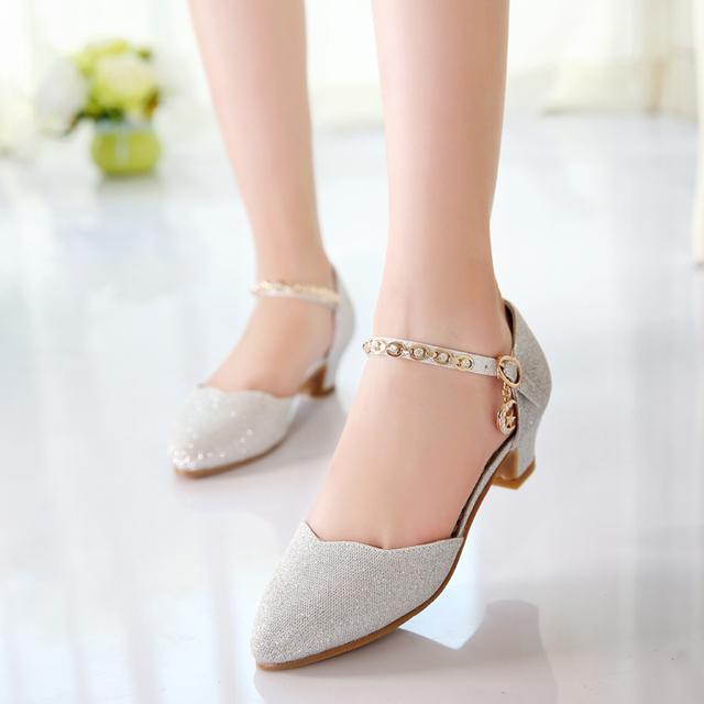71524a0955 US $16.63 5% OFF Princess Girls Sandals Kids Shoes For Girls Dress Shoes  Little High Heel Glitter Summer Party Wedding Children Shoe-in Leather  Shoes ...