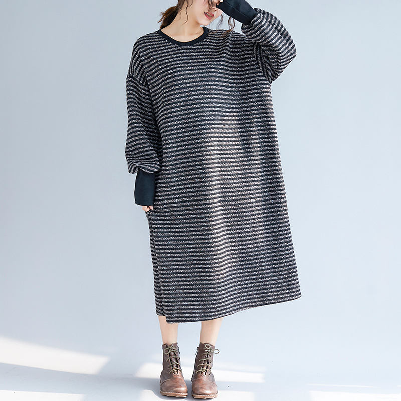 Fashion 2018 Autumn Winter O Neck Striped Big Size Loose Women Long Basic Dress Jl-shmf002