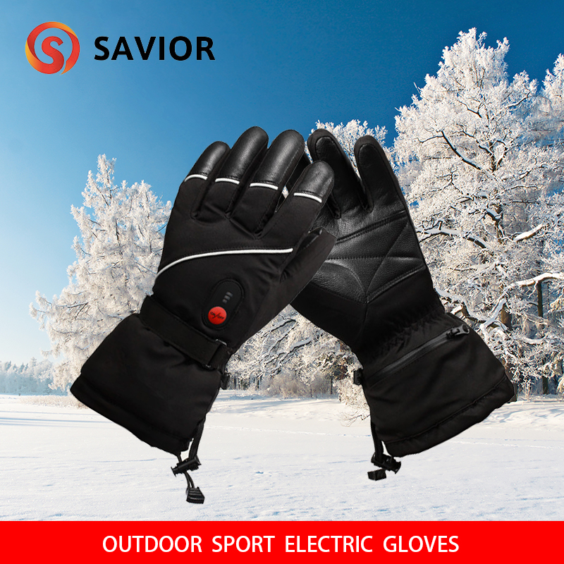 SAVIOR S-15 Winter Electric Heating Gloves Winter Skiing,fishing Outdoor Sports Leather Gloves Men Women Extra Battery Avialible