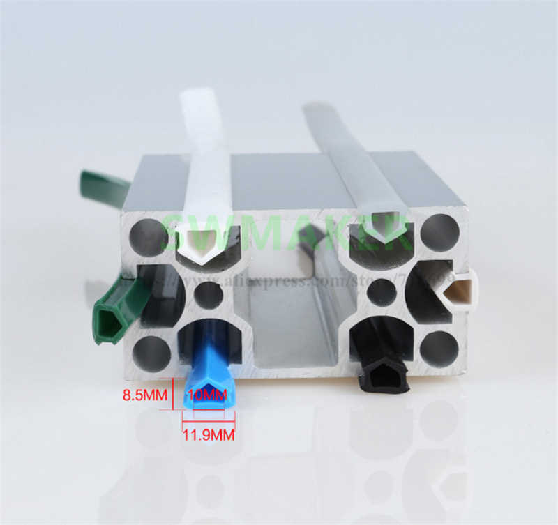 Negro/Blanco/azul 20 series 6mm sello plano para 2020 perfil de aluminio cubierta de ranura suave/soporte CNC c-beam máquina 3D impresora piezas