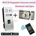 WIFI Intercom System Fingerprint Recognition IP Doorbell + Mute Electronic Lock, Smart Phone APP/Fingerprint Control Unlock