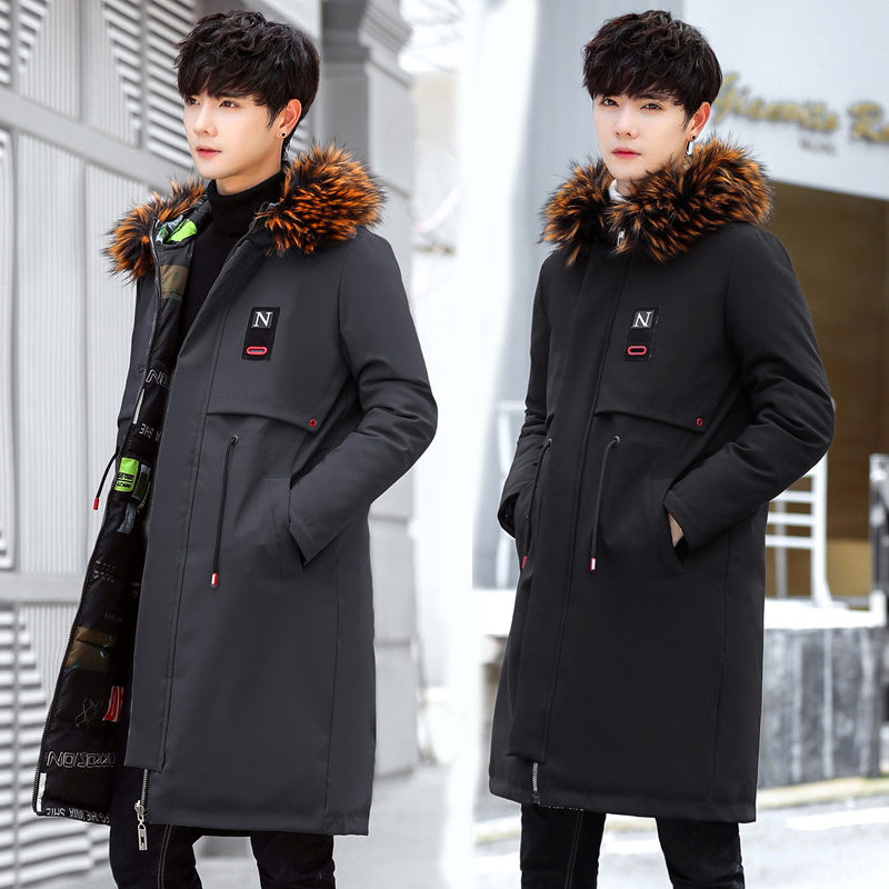 new   Parkas   Men 2018 New Winter Jacket Long Thicken Warm Cotton Big Fur Hooded Outwear Hooded Overcoat Can Be Worn On Both Sides