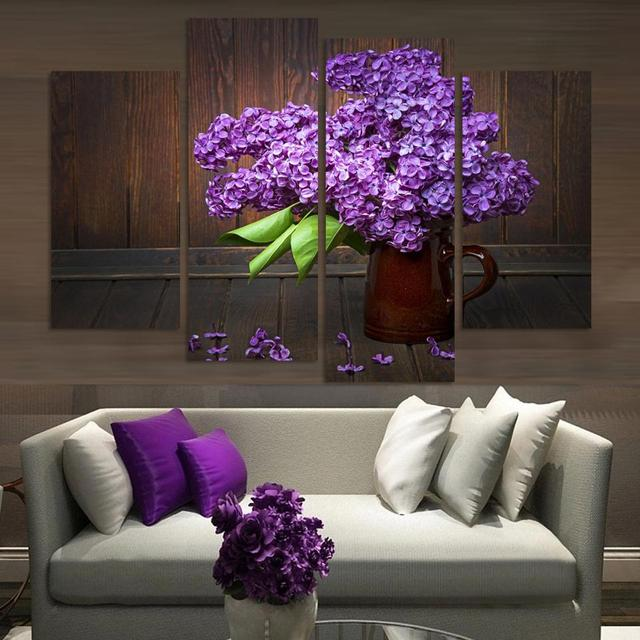 (Unframed)4 Pieces Modern Home Decor Wall Art Picture For Living Room  Bedroom Decor Purple Lilac Flower Modular Picture