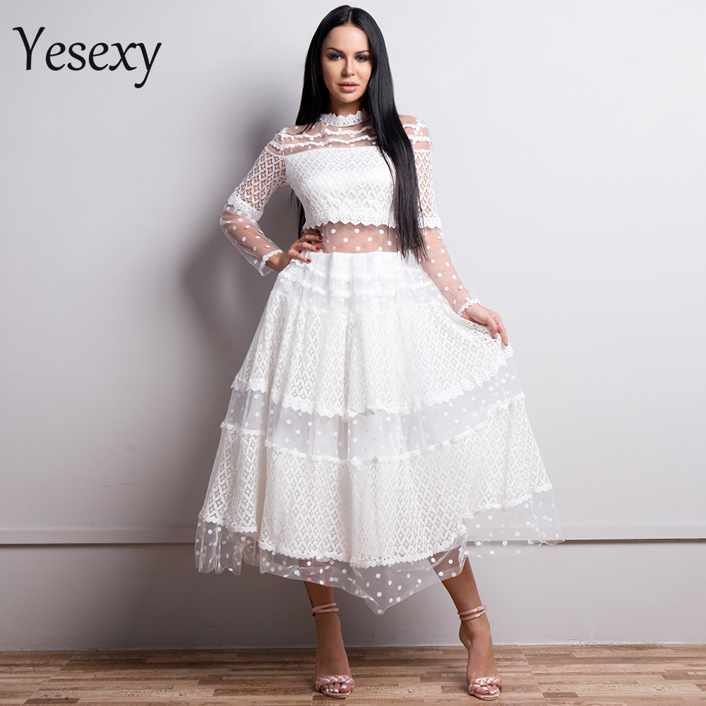Yesexy 2019 Women Sexy High Neck Long Sleeve Dot Dresses Female Lace Dress See Through Casual