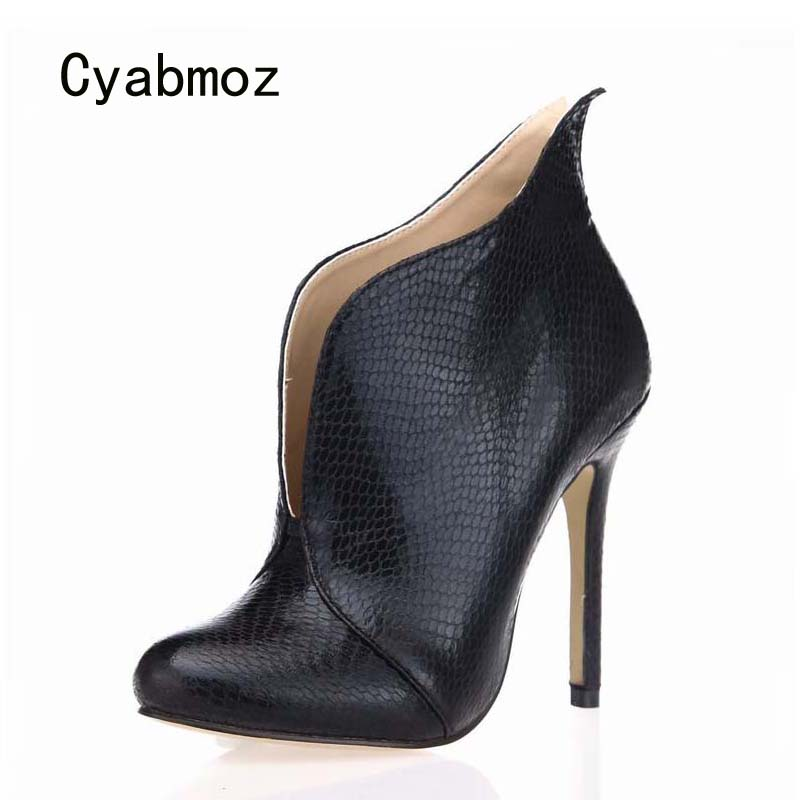Cyabmoz Women Ankle Boots High Heels Winter Shoes Woman Serpentine For Ladies Party Dress Shoes Zapatillas Botas Zapatos Mujer