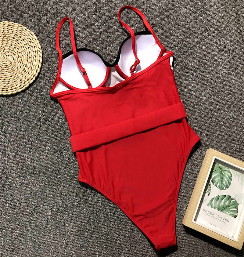 Czarny jednoczęściowy strój kąpielowy 2019 Monokini garnitury Sexy stroje kąpielowe body kobiety Push Up lato plaża nosić pływać kąpielowy strój kąpielowy