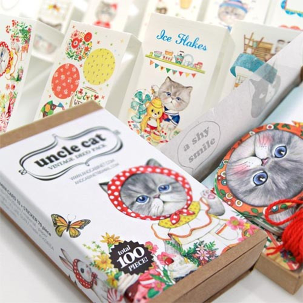 100Pcs/box Cat Stickers Bookmarks Greeting Cards Kawaii Cat Stickers Adhesive Stickers Diy Decoration Stickers