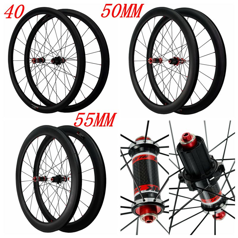 Carbon Road Bike Wheel Straight Pull Low Resistance Bearing Hub 25mm Wider Clincher Tubeless 700c Wheelset 3K Twill 40/50/55MM