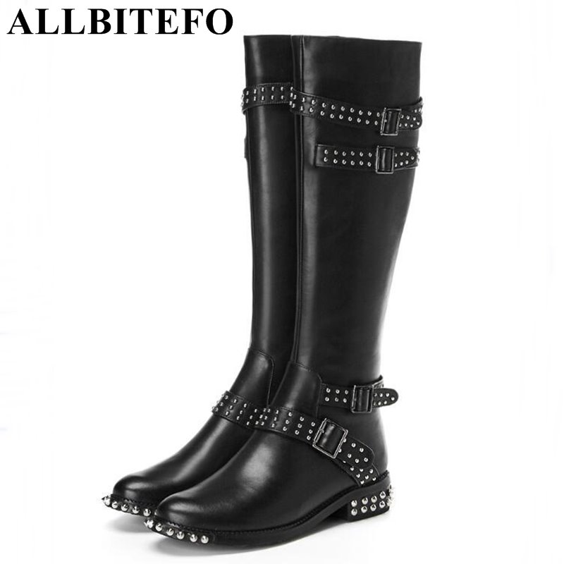 ALLBITEFO fashion brand genuine leather thick heel rivets women boots new winter low-heeeld girls boots botas femininas 2018 new arrival genuine leather fashion boots thick heel winter shoe motorcycle boots rivets party runway women ankle boots l09