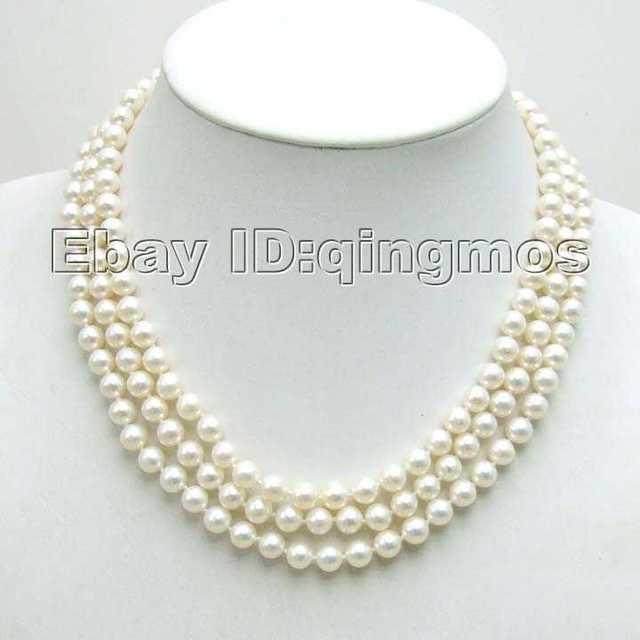 SALE AAA GRADE perfect round 6-7MM freshwater PEARL 3 Strings NECKLACE WITH Gold CLASP -5358 wholesale/retail Free shipping