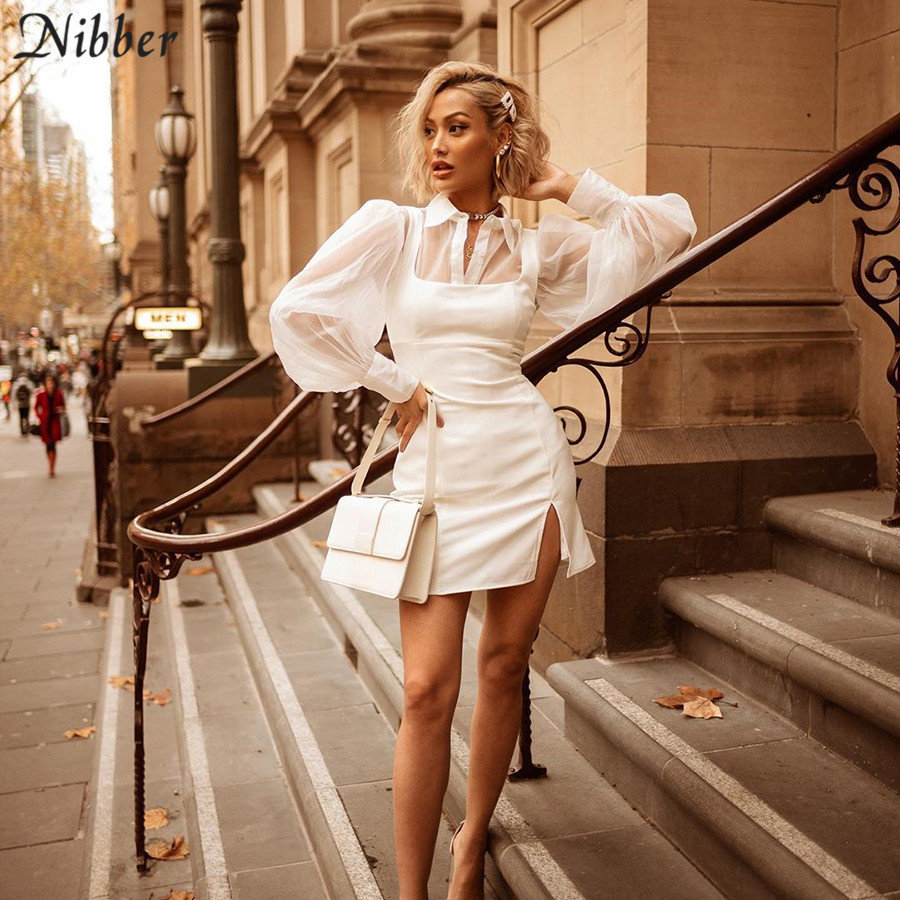 Nibber office lady Elegant mesh tops white dresses womens 2two pieces sets autumn party casual tee shirts bodycon dresses mujer Платье
