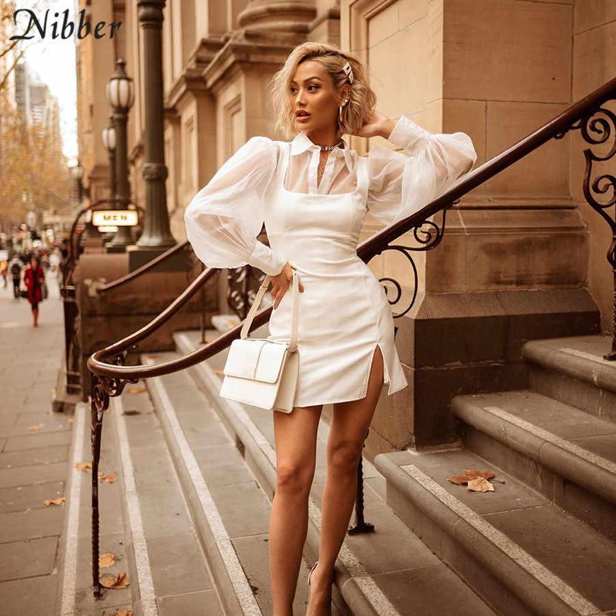 Nibber офисные женские элегантные сетчатые топы белые платья женские комплекты из 2 предметов осенние вечерние повседневные футболки облегающие платья mujer