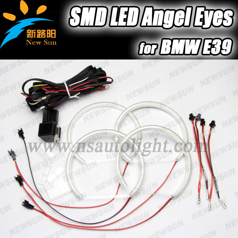 ФОТО Free shipping 4x High Power Xenon White SMD LED Light Angel Eyes Projector Halo Rings Marker Kit For BMW E36 E38 E39 E46