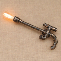 Gun style Loft Industrial decorative iron Water pipe retro wall lamp sconce wall lights with switch E27 for living room bedside